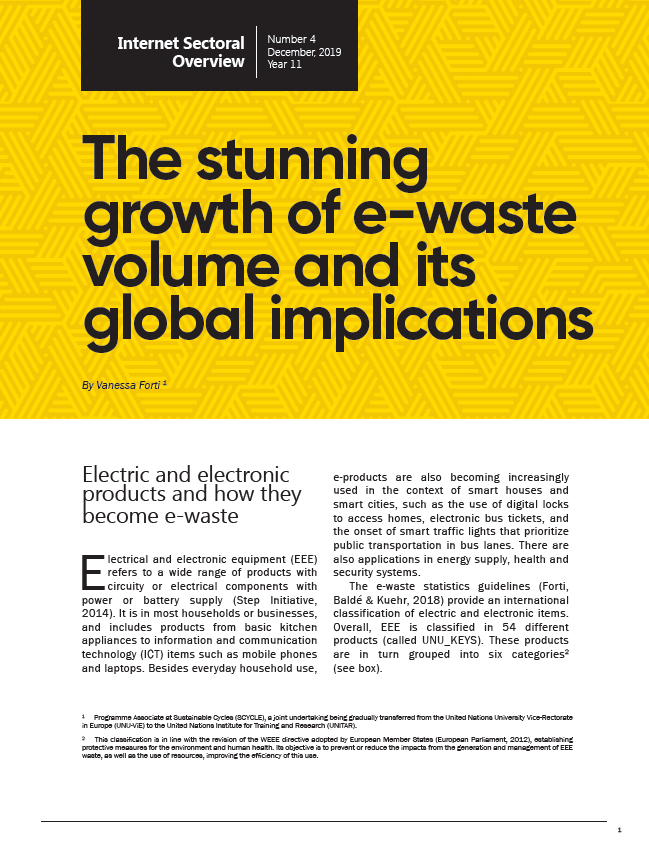 Year XI - N. 4 - The stunning growth of e-waste volume and its global implications